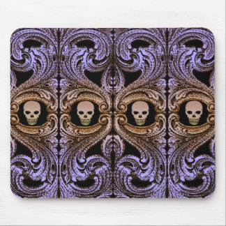 Goth Purple Ornament With Skull Mouse Mat