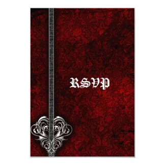 Goth Red Damask Silver Heart wedding RSVP Card