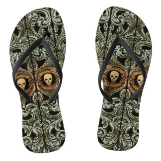 Goth Sage Green Ornament with Skull Flip Flops