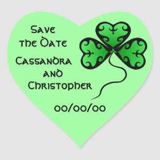 Goth shamrock St. Patrick's day save the date Heart Sticker