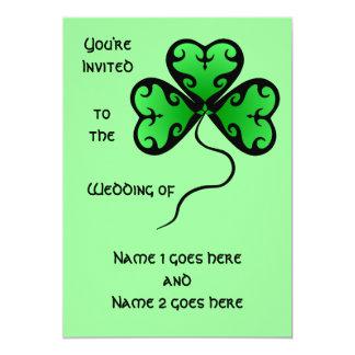 Goth shamrock St. Patrick's day wedding 5x7 Paper Invitation Card