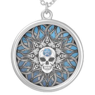 Goth Skull - Blue Round Pendant Necklace