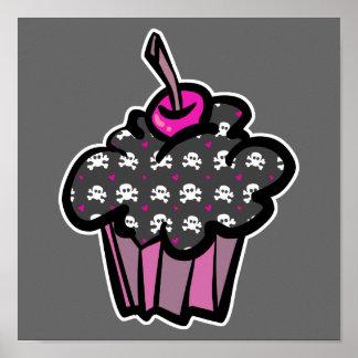 goth skull crossbones cupcake poster