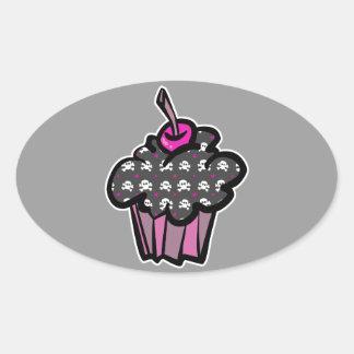 goth skull crossbones cupcake oval sticker