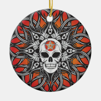 Goth Skull - Orange Christmas Ornament