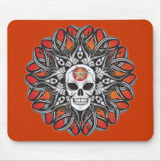 Goth Skull - Orange Mousepads
