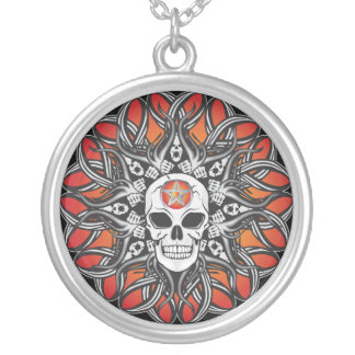 Goth Skull - Orange Necklace
