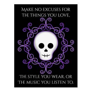 Goth skull positive words postcard