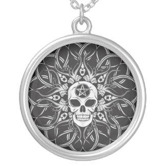 Goth Skull Round Pendant Necklace