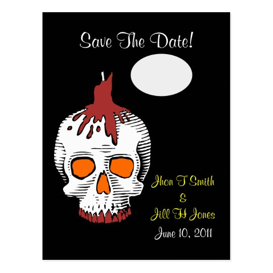 Goth  Skull Save The Date! Wedding Postcard