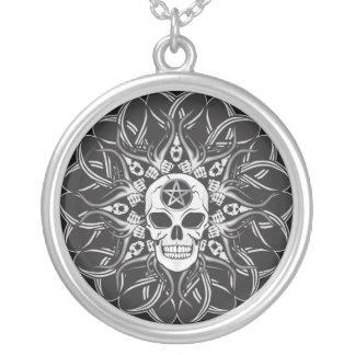 Goth Skull Silver Plated Necklace