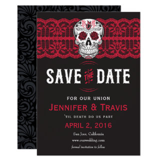 Goth Skull Swirl & Lace Wedding Save the dates Card
