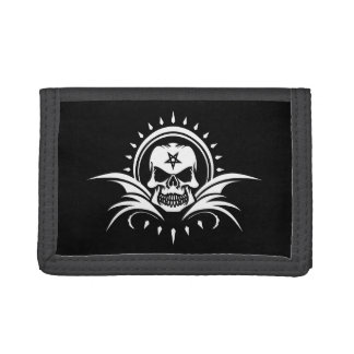 Goth Skull with Bat Wings and Pentagram Tri-fold Wallet