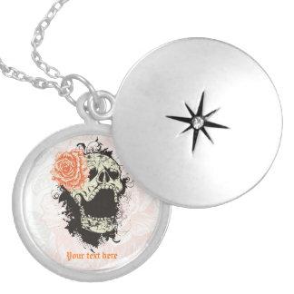 Goth skull with vintage orange rose necklace