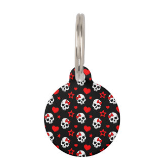 Goth Skulls & Hearts Pet ID Tag