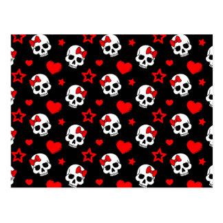Goth Skulls & Hearts Postcard