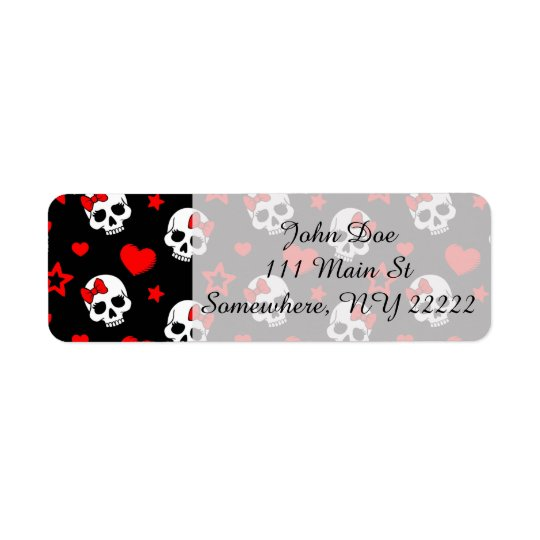 Goth Skulls & Hearts Return Address Label