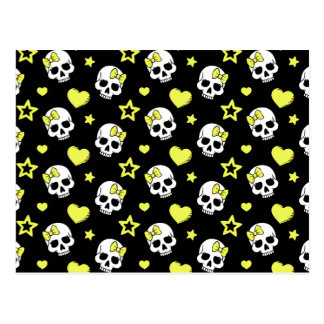Goth Skulls & Hearts with Yellow Accents Postcard
