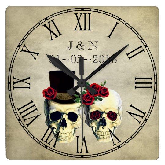 Goth Skulls Married Couple Custom Wedding Square Wall