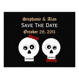 Goth Skulls Save The Date Card Personalized Invite