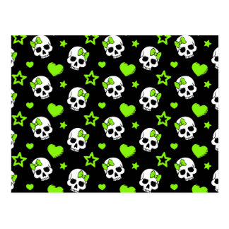Goth Skulls With Green Hearts Postcard