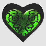 Goth St. Patrick's Day Green Heart Sticker