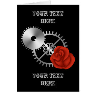 Goth steampunk victorian roses and gears romantic card