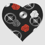 Goth steampunk victorian roses and gears romantic heart sticker