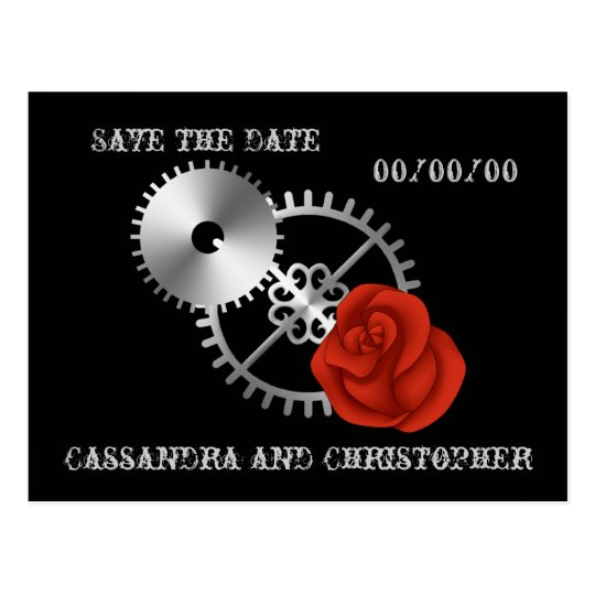 Goth steampunk victorian roses Save the Date Postcard