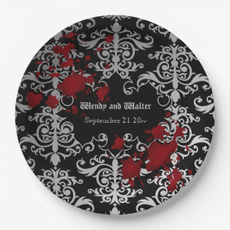 Goth themed wedding paper plate