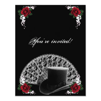 Goth Top Hat and Fan Victorian Wedding 11 Cm X 14 Cm Invitation Card