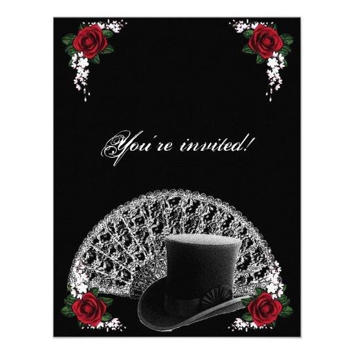 Goth Top Hat and Fan Victorian Wedding Custom Invites