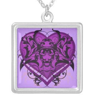 Goth Tribal Flourish Purple Heart Necklace