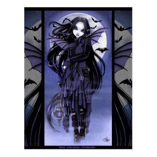 Goth Vampire Bat Fairy Purple Moon Morgan Postcad Postcard