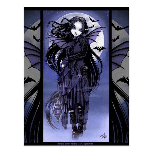 Goth Vampire Bat Fairy Purple Moon Morgan Postcad Post Card