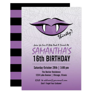 Vampire Birthday Party Cards Invitations Zazzlecouk - Halloween birthday invitations uk