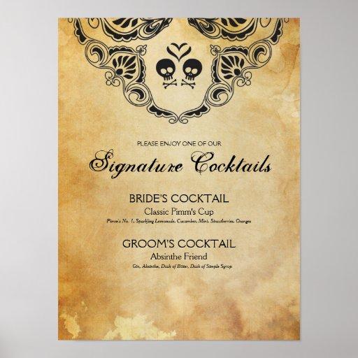 Goth Wedding Signature Cocktail Sign Halloween