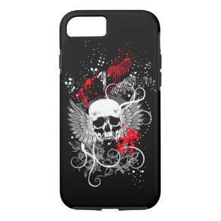 Goth Winged Grunge Skull iPhone 7 case (red)