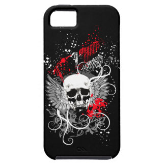 Goth Winged Grunge Skull iPhone Case (red)