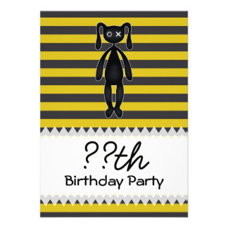 Goth Yellow and Black Bunny Personalized Invite