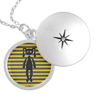 Goth Yellow and Black Bunny Silver Plated Necklace