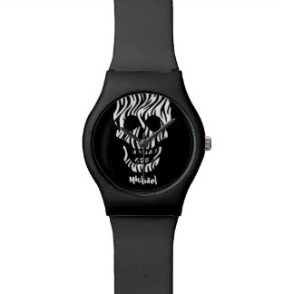 Goth Zebra Skull Custom Name V03 BLACK Wristwatches