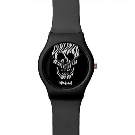 Goth Zebra Skull Custom Name V03 BLACK Wristwatches
