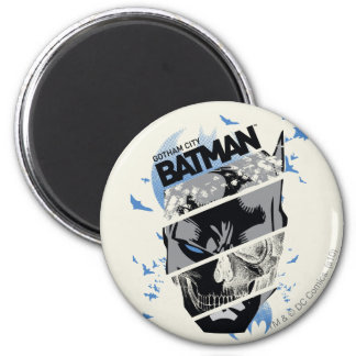 Gotham City Batman Skull Collage Magnet