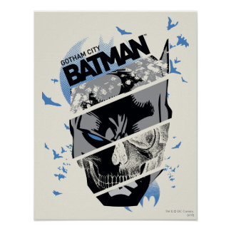 Gotham City Batman Skull Collage Poster