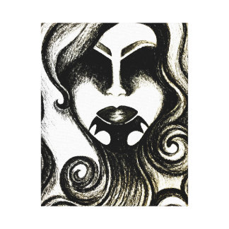 Gothic abstract art canvas - tattoo lady