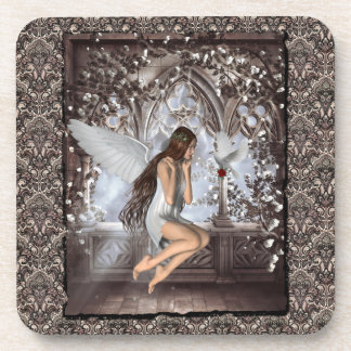 Gothic Angel and Her Dove Coaster