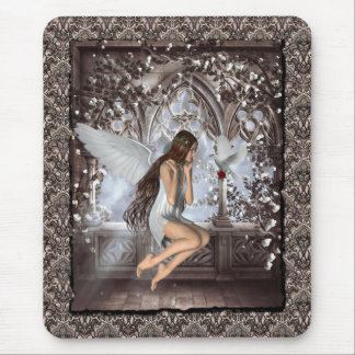 Gothic Angel and Her Dove Mouse Mat