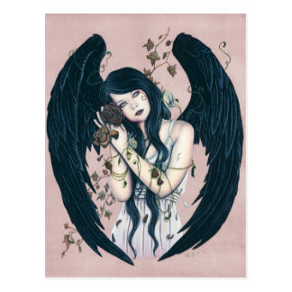 Gothic Angel Decay Wither Flowers Pink Postcard