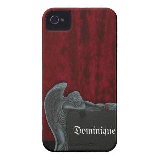 Gothic Angel on Red Velvet Pattern iPhone 4 Case
